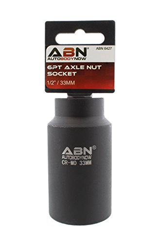 ABN Axle Nut Socket, 33mm, 1/2in Drive, 6 Point - Universal for All Vehicle 6pt Installation, Removal, Repair