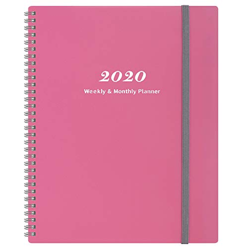 """2020 Planner - Weekly & Monthly Planner with Tabs, Elastic Closure and Thick Paper, Back Pocket with 21 Notes Pages, 9"""" x 11"""""""