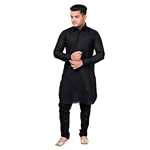 SLKS India Craft Men's Special Cotton Kurta Pyjama Set| Traditional kurta Pajama Set | Plain Kurta Pajama For Boy's (42…