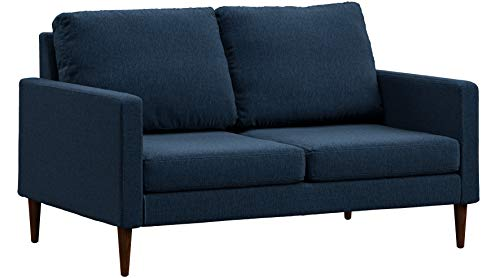 Set Loveseat Oak - Campaign Steel Frame Brushed Weave Loveseat, 61 Inches, Midnight Navy with Mahogany Stained Solid Oak Legs
