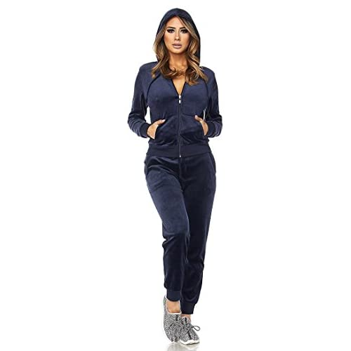 f73067e114e 60%OFF SOHO GLAM Navy Blue Velour Zip-Up Hoodie(Plus Sizes Available ...