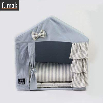 (fumak Pink Princess Camping House for Dogs Winter Warm Pet Small Breeds Home Kennel with Mats Blankets for Puppies Animal Cat Pitbull (Bow)