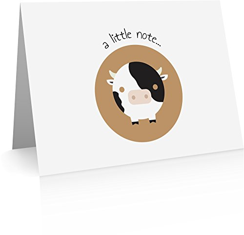 Cow Note Cards (24 Fold-over Cards and Envelopes) - Cow Note