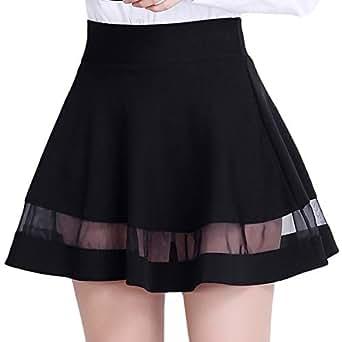 DISSA AD952 Women Pleated Mini A-Line Skirt,Black,L,UK 12