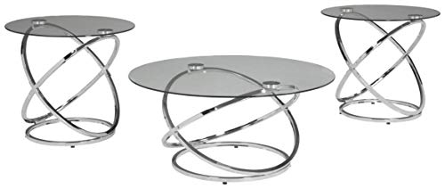 Room Set Living Contemporary - Ashley Furniture Signature Design - Hollynyx Contemporary 3-Piece Table Set - Includes Cocktail Table & Two End Tables - Chrome Finish
