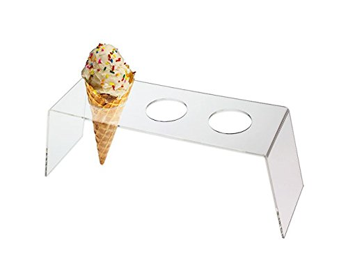 SourceOne Premium Frosted Acrylic Ice Cream Snow Cone 3 Hole Display Stand Holder