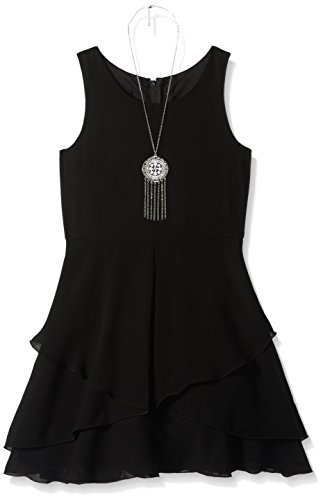 Amy Byer Big Girls' Racerback Dress with Tulip Overlay, Black, 10