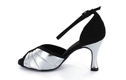 Minitoo Women's Flared Heel Ankle Strap Pleated Fashion Classic Modern Dance Shoes Silver QQeZ2hlR