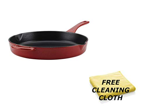 Cleaning Enamel Cast Iron - Ayesha Curry Cast Iron Enamel 12-Inch Skillet, Red + Include Free Multipurpose Cleaning Cloth