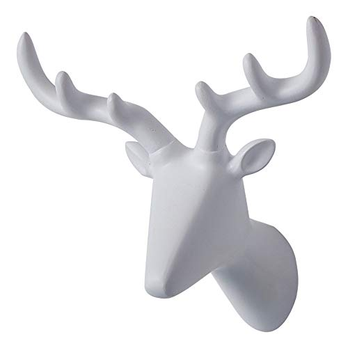 Coat Hooks Single Wall Hooks 2Pcs Deer Antlers Head Novelty Animal Shaped Wall Mounted Coat Hat Hooks Heavy Duty Hanger Rack Rustic Farmhouse Gallery Wall Decor ( Color : White , Size : One size ) (Ceramic Deer Head With Holes For Antlers)