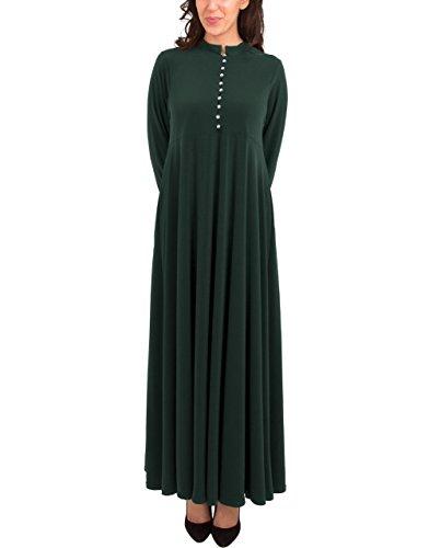 Hijab Por Verde Moda el Mujeres de Muslim islámica diamantes imitación de modesto Jilbab Abaya abren Gem Gris árabe vestido botón maxi completo UpRgpZTA