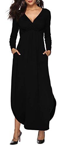 Sarin Mathews Womens Dresses V Neck Long Sleeve Side Slit Casual Party Long Maxi Dress with Pockets Black S