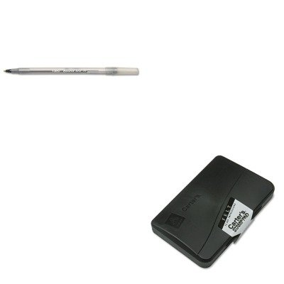 KITAVE21021BICGSM11BK - Value Kit - Carter's Felt Stamp Pad (AVE21021) and BIC Round Stic Ballpoint Stick Pen (Ave21021 Felt Stamp Pad)