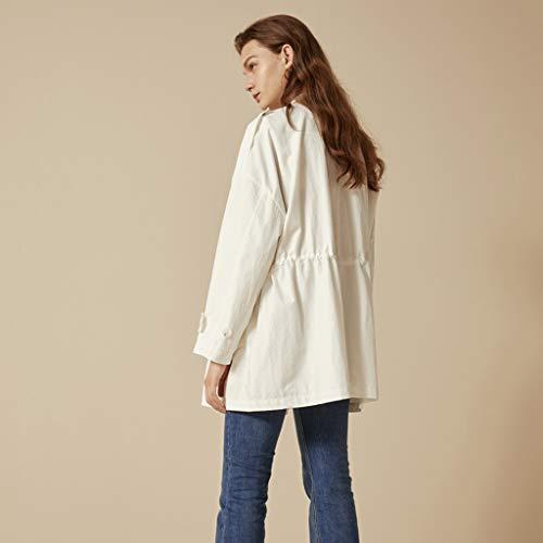 Giacche Size Bianca Bianca color Cappotti Donna A Casual S Uomo Giacca Vento Primavera Da Camicia 4pp7qd