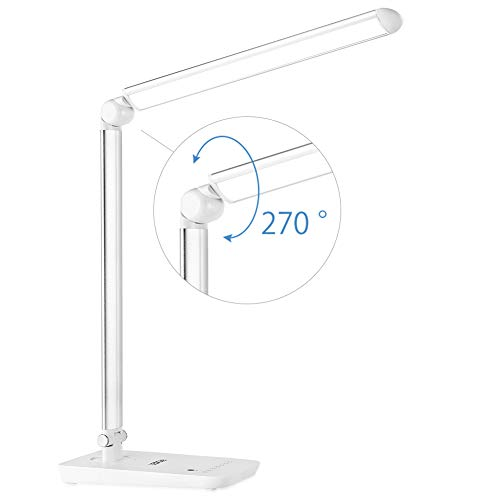LEDGLE LED Desk Lamp Dimmable LED Table Lamp 7-Level Dimmer, Touch-Sensitive Control Panel, Eye-Caring Office Lamp,Folding Desk Lamps, Reading Lamps, Bedroom Lamps, White