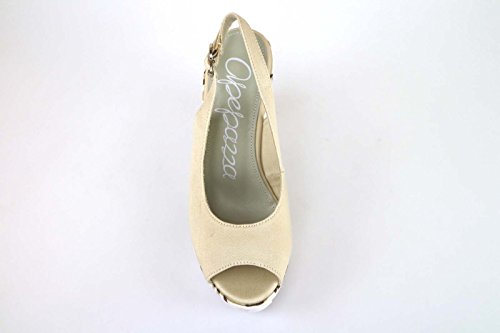 Zapatos mujer APEPAZZA Sandalias cuñas beige Textil AK610