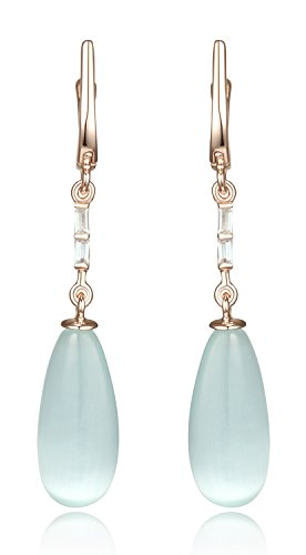 Lanfeny Rose Gold Plated 925 Sterling Silver Long Dangle Earrings with Soft Aqua Blue Color Teardrop cat eye and - And Tiffany Gold Blue