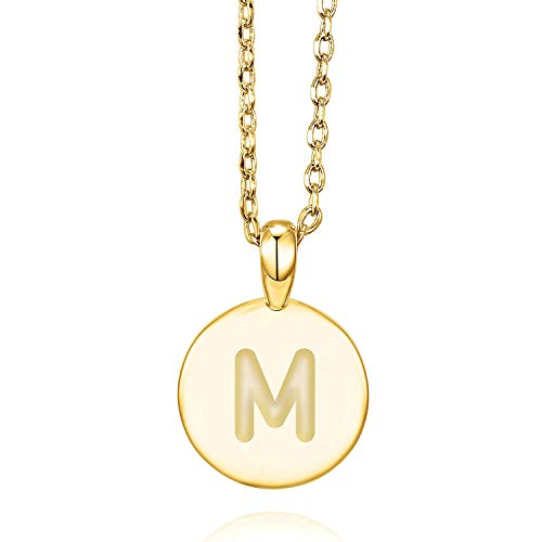 PAVOI 14K Yellow Gold Plated M Initial Alphabet Pendant Necklace