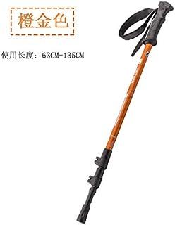 Accessoires de plein air bâtons de trekking canne carbone ultraléger télescopique multifonction en alliage d'aluminium bâtons d'escalade extension accessoires de marche, alliage d'aluminium 6061 orange - poignée courte TPR