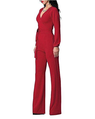 Verano Cuello Pantalones Fiesta Vestido Rojo Slim Skinny Largos Otoño Mujeres Noche Elegante Jumpsuits Mangas Venta V 8qpxWR5BwX