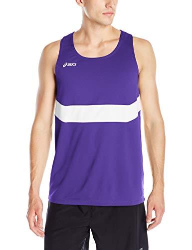ASICS Mens Break Through Singlet, Purple/White, Small