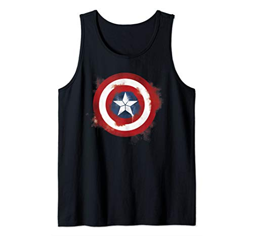 Marvel Avengers Endgame Spray Paint Captain America Logo  Tank Top