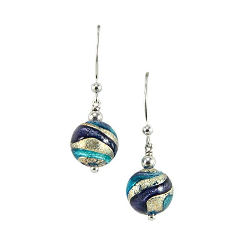 Woman's pendants in 925 silver rhodium plated and Murano glass enhanced by a white gold leaf made in Florence. OIR030/W07