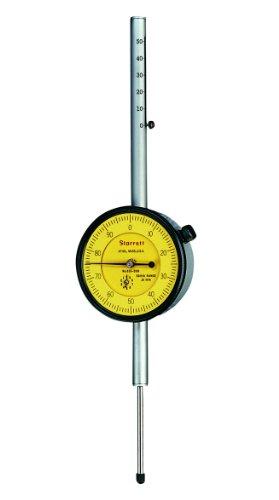 (Starrett 25-2081J Dial Indicator, Long Range, 9.525mm Stem Dia., Lug-on-Center Back, Yellow Dial, 0-100 Reading, 57.15mm Dial Dia., 0-50mm Range, 0.01mm Graduation )