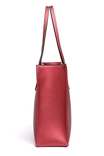 Bag Handbag Red Leather Wine Pure Top Shopping Shoulder Womens OSONM Cow Bag Bag Handle Color Bags Tote fFXXHq