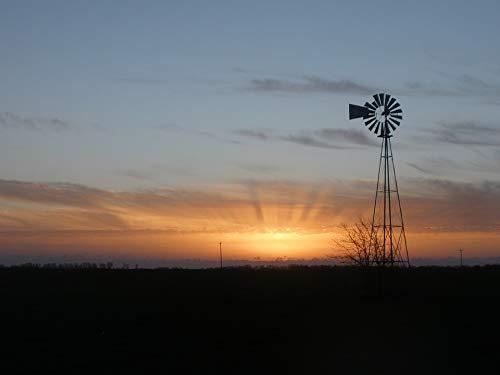 - Home Comforts Peel-n-Stick Poster of Farm Sunrise Daybreak Kansas Rays Windmill Rural Vivid Imagery Poster 24 x 16 Adhesive Sticker Poster Print