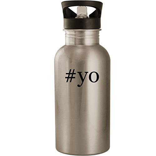 #yo - Stainless Steel Hashtag 20oz Road Ready Water Bottle, Silver]()