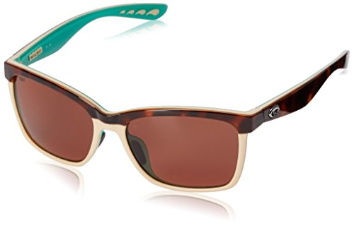 Costa del Mar Women's Anaa ANA 105 OCP Polarized Cateye Sunglasses, Retro Tort/Cream/Mint, 55.4 - Womens Del Costa Mar