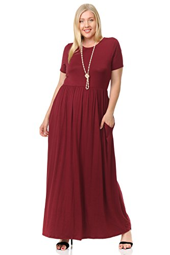 Pastel by Vivienne Women's Short Sleeve Maxi Dress with Pockets in Plus Size XX-Large Burgundy