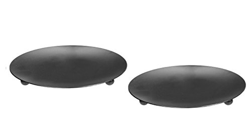Hosley Set of 2 Black Iron Pillar Plates 7 Inch Diameter. Ideal Gift for Wedding Special Occasion and for a Candle Holder or as a Pedestal O4