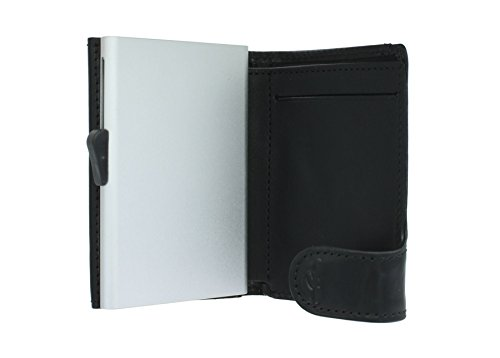 Card Sliding Protected Brown 1 Wallet RFID with Black Perotti Mechanism Tony 3681 Card wfTgqq