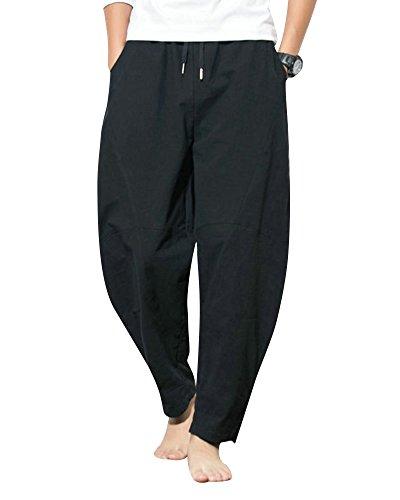 Homme Confortable Sarouel Lin Anyua En Elastique Noir Avec Pantalon Casual Jogging Taille TqdEnUxpn