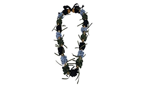 Hawaiian Ribbon Lei, Black and Silver and Olive-Ilima 32 Inch by HawaiiUWT