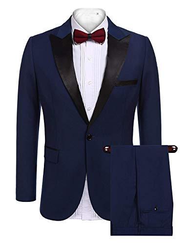 Suit Vintage Fit anzug Blazer lunga Uomo Giacca Slim bottone Blau da sposa Leisure manica Business 1 qXIxdwZ