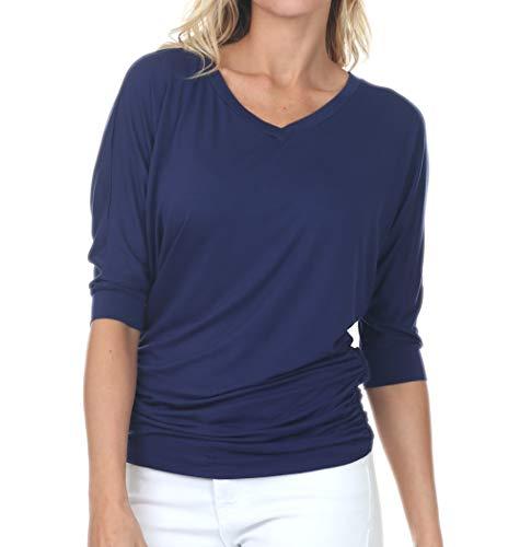 iliad USA 7006 Womens V-Neck 3/4 Sleeve Side Shirring Drape Dolman Top Navy - Top Tunic V-neck Sleeve