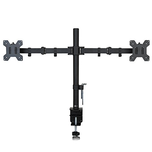 WALI Dual LCD Monitor Desk Mount Stand Fully Adjustable Fits Two Screens up to 27',  22 lbs per Arm Capacity, C-Clamp Base /Grommet Base (WL-M002).