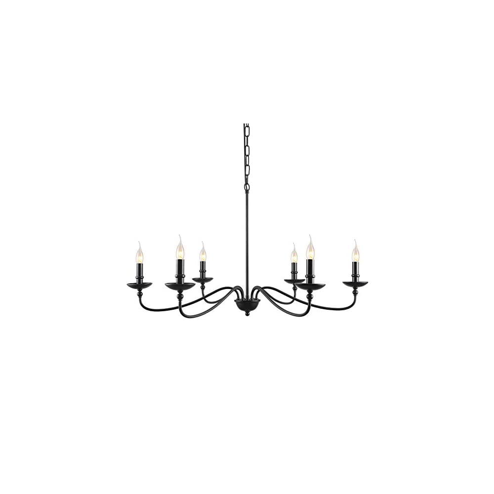 """SEOL-Light 36""""Dia Classic Candelabra Style Large Branch Iron Chandeliers Ceiling Hanging Pendant Light Fixture 6 Light 240W Black Painted Indoor"""