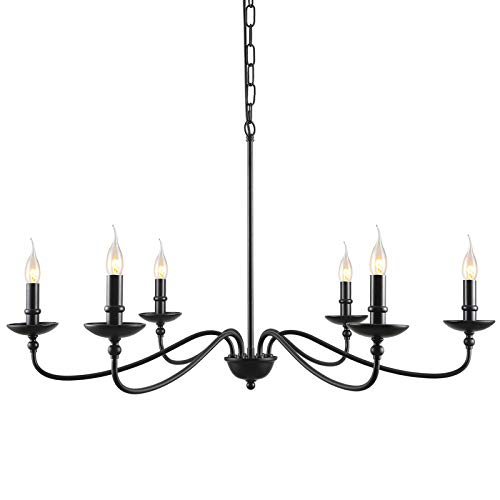 """SEOL LIGHT 36""""Dia Classic Candelabra Style Large Branch Iron Chandeliers Ceiling Hanging Pendant Light Fixture 6 Light 240W Black Painted"""
