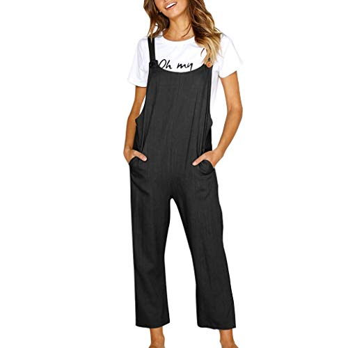 Zlolia Women's Solid Color Sling Trousers Jumpsuit Pocket Adjustable Strap Jumpsuit Ladies Summer Slim Casual Overalls ()
