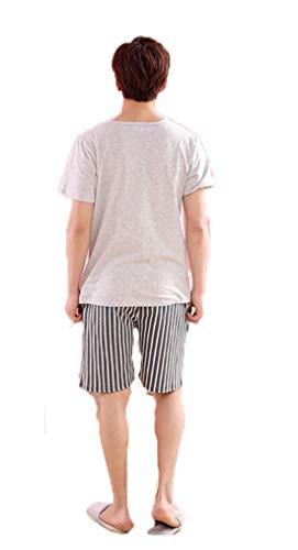 Simpatiche Manica Grigio Uncinetto shirt Girocollo Due Cotone T Pigiama Maglie Corta Magliette Uomo Pigiami Pezzi Stampate Kawei Estive wq4OtO