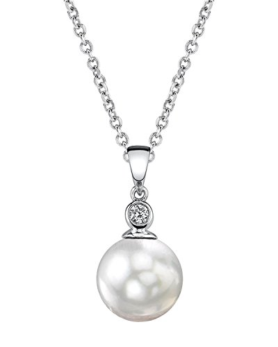 THE PEARL SOURCE 14K Gold 8.5-9mm AAA Quality Round White Akoya Cultured Pearl & Diamond Michelle Pendant Necklace for Women -