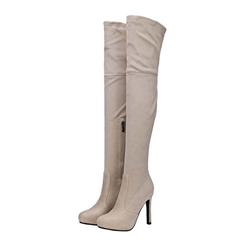 Aiyoumei Womens Suède Rits Solide Stiletto Herfst Winter Over De Knie Laarzen Lange Stretch Laarzen Abrikoos