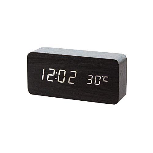 Happy nest Clocks Digital Alarm Clock Wood LED Adjustable Brightness Voice Control Desk Wooden Alarm Clock (Kurogi)