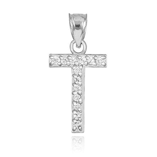 Color Si1 Charm (14k White Gold Diamond Alphabet Initial Letter T Bracelet Charm (0.13 cttw, SI1 Clarity, G-H Color))