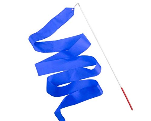 ACE SELECT Dance Ribbons with Wands 4m Rhythmic Gymnastics Ribbon Dance Streamer for Kids Baton Twirling - Blue