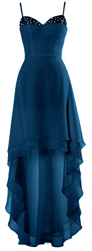 Party Gorgeous Cocktail Dress Low MACloth High Teal Formal Wedding Straps Prom Gown wdZpw0xBq